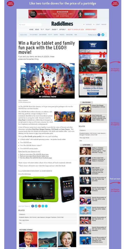 Kurio/LEGO® movie competition