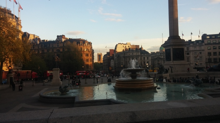 Photo looking out onto Trafalgar Square
